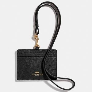 Coach Black ID Lanyard Card Case